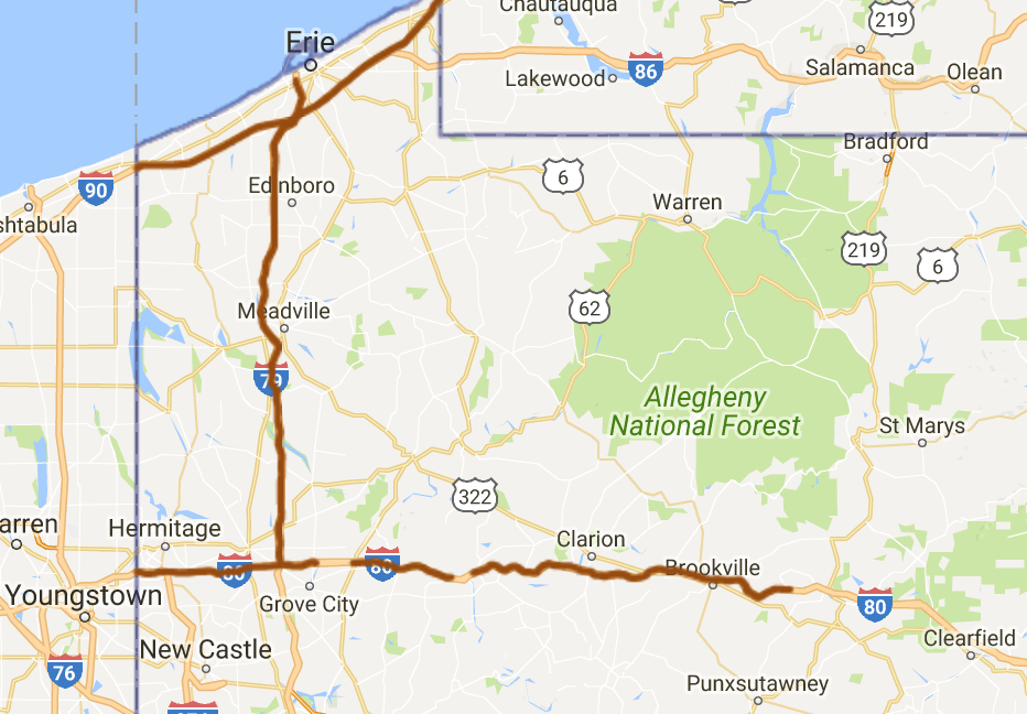 PennDOT Lifts Speed Limit Restrictions On Interstate - Us route 80 map