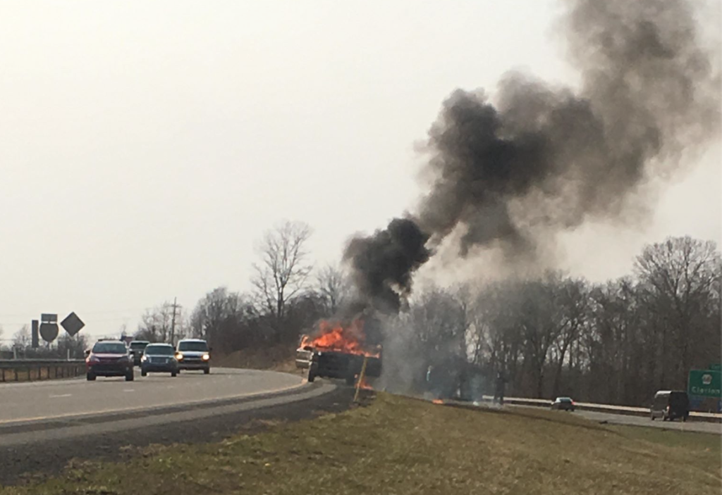 Jefferson County Pair Escape Injury After Truck Engulfs in Flames on Interstate 80