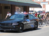 Brockway police escort the 2017 Tour de Brockway Peloton Parade.