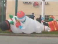 Say What?!: High Winds Cause Inflatable Snowmen to 'Fight'