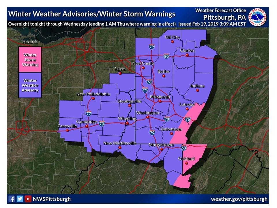 Jefferson County Indiana Map.Explorejeffersonpa Com Weather Alert Snow Sleet Freezing Rain