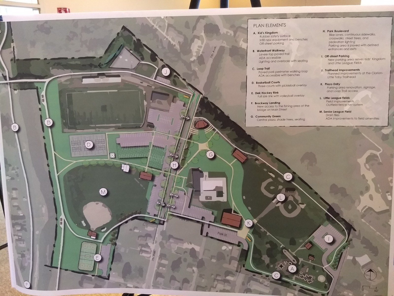 A proposal map for the revitalization of Taylor Memorial Park. Design by HRG.