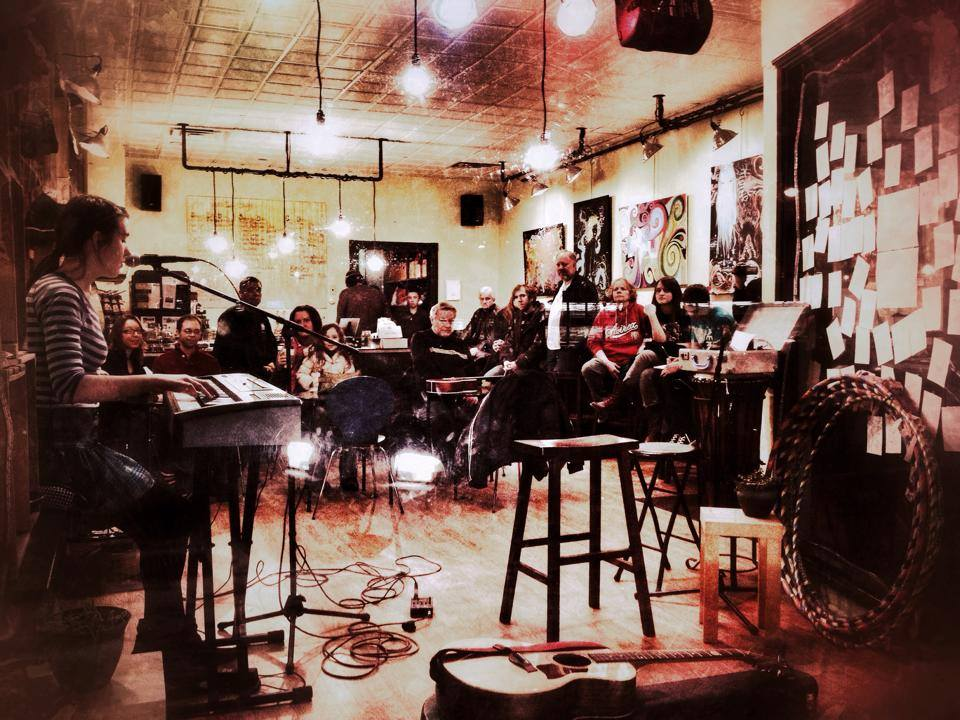 Open mic night at the CREATE Café.