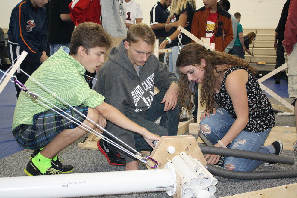 Students had the opportunity to view part of the course their robots will navigate during the BEST Robotics Competition at Penn State DuBois in October.
