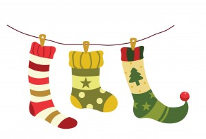 Vector illustration of christmas socks hanging on a wire.