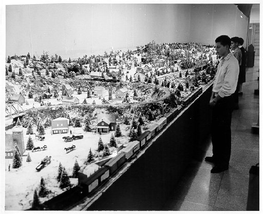 The first display of the Miniature Railroad and Village, at The Buhl Planetarium and Institute of Popular Science, in the holiday season of 1954. Photo courtesy The Buhl Planetarium and Institute of Popular Science.