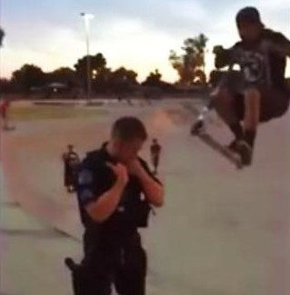 Scooter-riding-daredevil-flies-over-police-officers-head