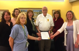 Brookville Mayor Richard Beck was at Penn Highlands Brookville last week to help kick off National Nurses Week. In the front row is Alene Joiner (Surgical Services Supervisor). Back row, from left are Beth Keth (Performance Improvement Manager), Leah Mannerino (Senior Transitions Unit Supervisor), Julianne Peer (president of PHBrookville), Richard Beck (Brookville Mayor), Debra Thomas (chief nursing officer) and Kristi Powell (Medical/Surgical Unit Supervisor).