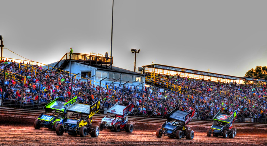 A capacity crowd enjoys the action at Lernerville Speedway Friday evening