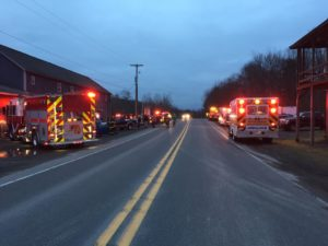 Emergency units at Route 119 wreck