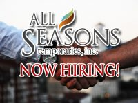 Featured Local Job: Several Openings with All Seasons Temporaries